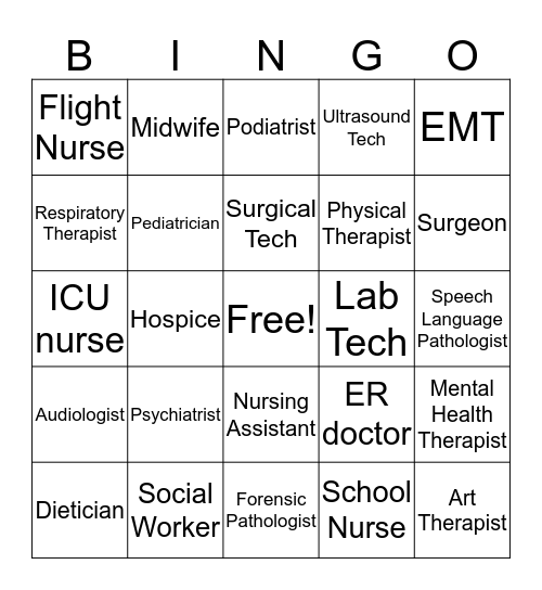 Health Careers Bingo Card