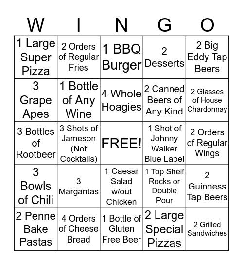 Carbone's Win Go Bingo Card