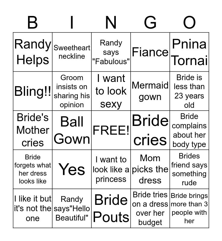 Bride Day Bingo Card