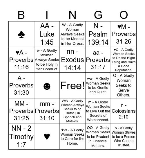 WOMAN Bingo Card