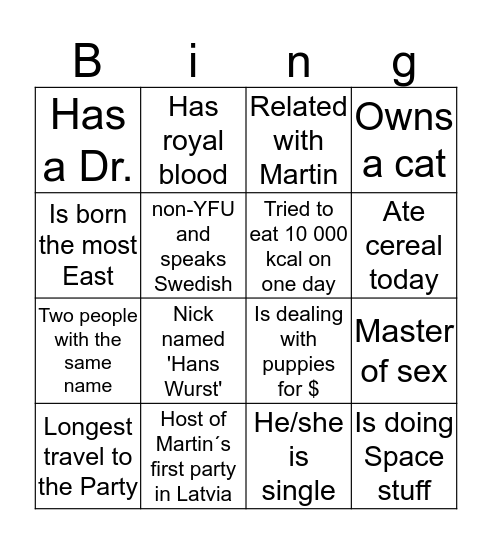 Human Bingo - find the person Bingo Card