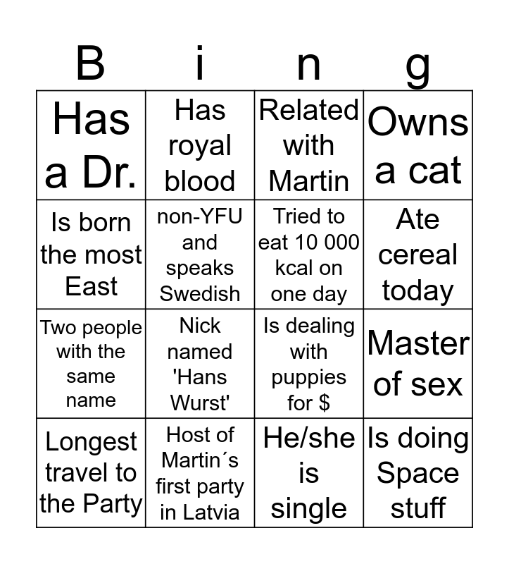 Human Bingo - find the person Bingo Card