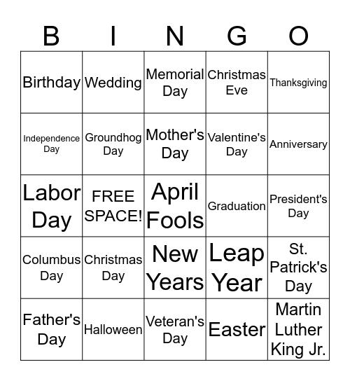 Important Days  Bingo Card