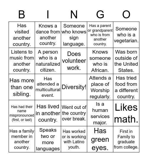 Multicultural Bingo  Bingo Card
