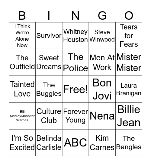 1980s Hits Bingo Card