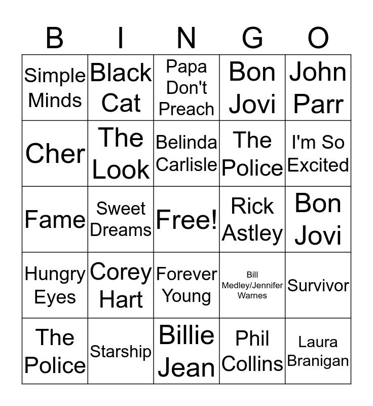 1980s Hits Bingo Card