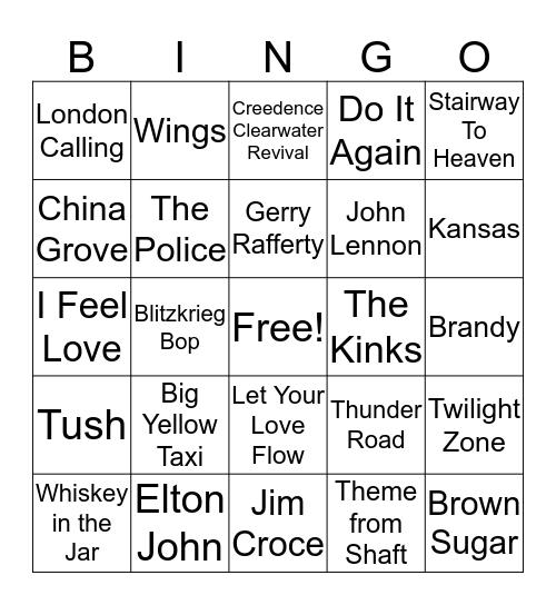 1970's Hits Bingo Card