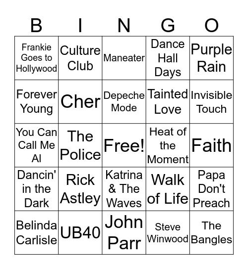 1980's Hits Bingo Card