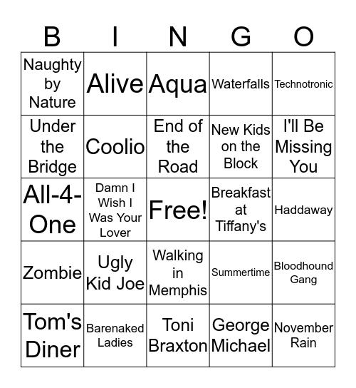 1990's Hits Bingo Card