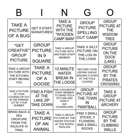 ADVENTURE CAMP Bingo Card