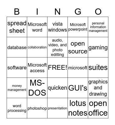 computer software Bingo Card