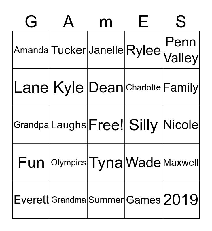 Maxwell Olympics 2019 Bingo Card