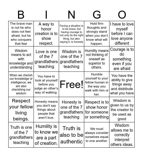 Seven Grandfathers Teachings Bingo Card