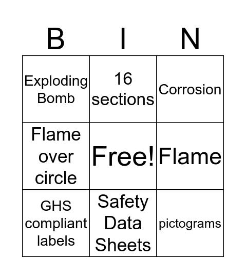 GHS  Bingo Card