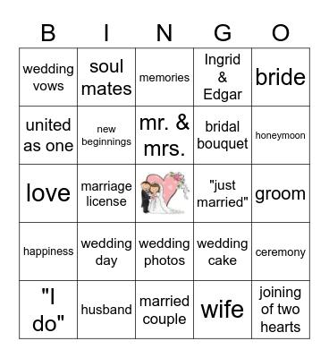"""""""Here Comes The Bride""""! Bingo Card"""
