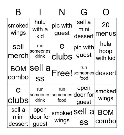 HG Model Behavior Bingo Card