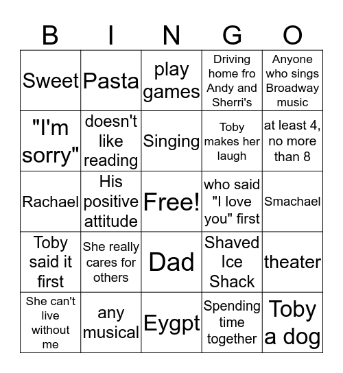 What did Toby Say? Bingo Card