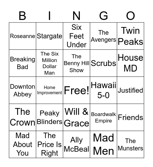 TV Themes Bingo Card