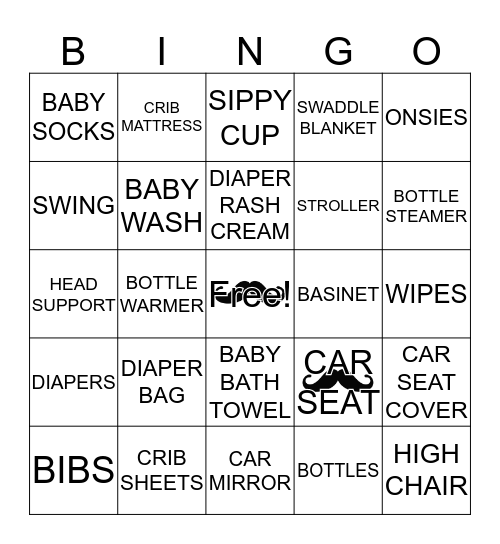 Little Man Baby Shower Bingo Card