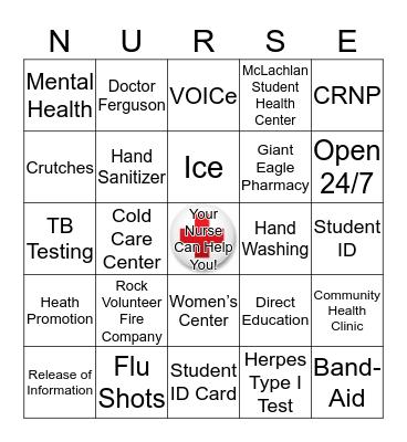 Student Health Center BINGO Card