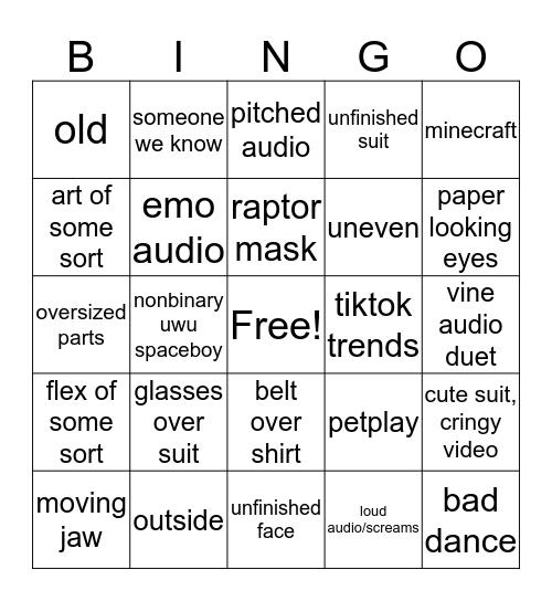 Furry TikTok Bingo Card