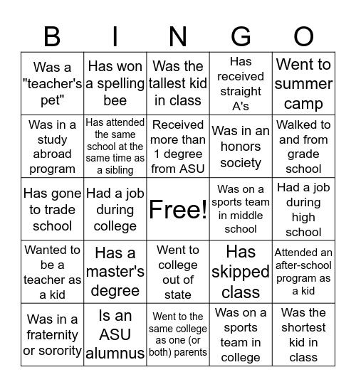 Back-to-School Bingo Card