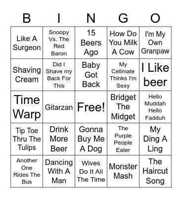 Funny Songs Bingo Card