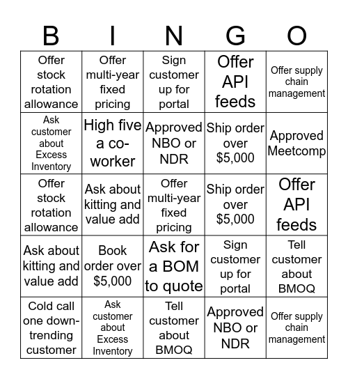 MINGO Bingo Card