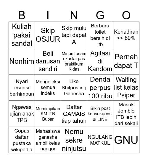 ITB Bingo Card