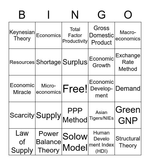 ECONOMIC DEVELOPMENT Bingo Card