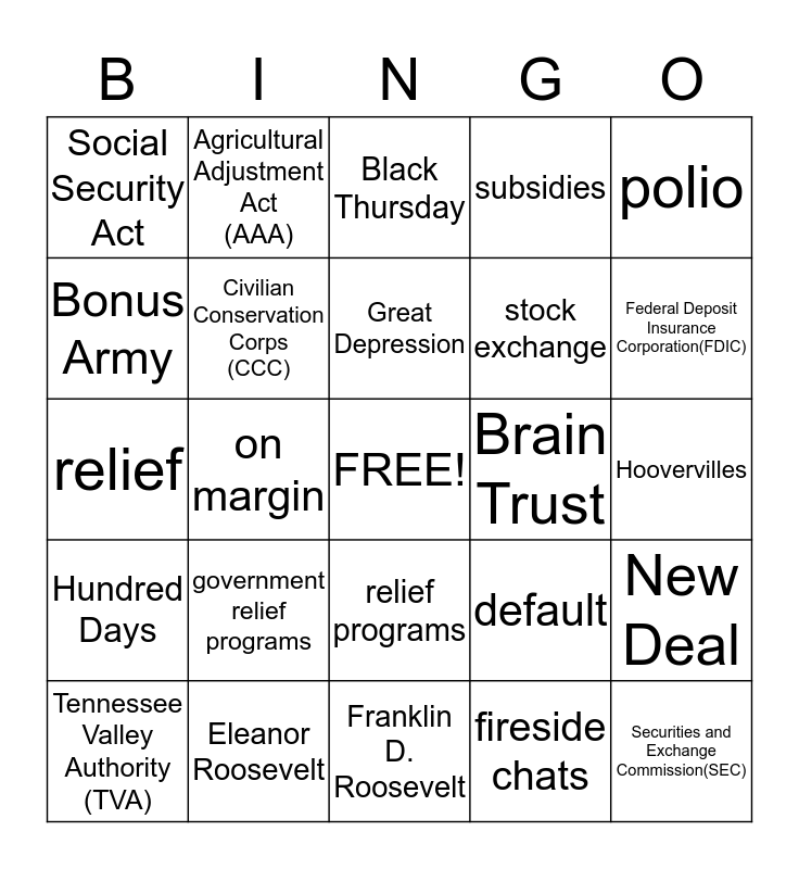 Chapter 25 Sections 1 and 2 Bingo Card