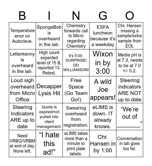 EML Bingo Card