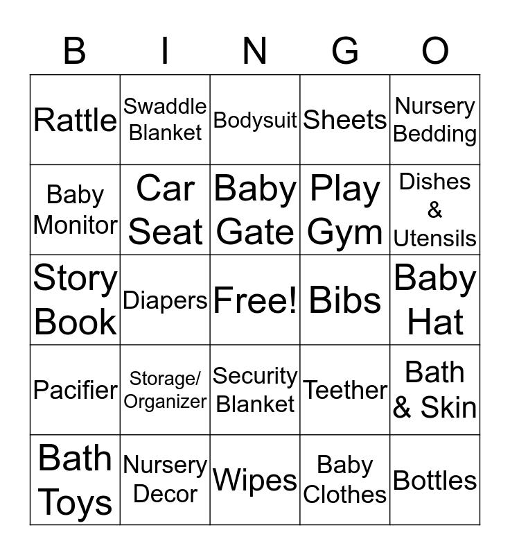 Estefania's Baby Shower  Bingo Card