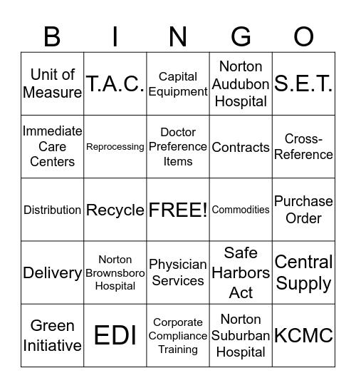 Materiel Mgmt Week Bingo Card