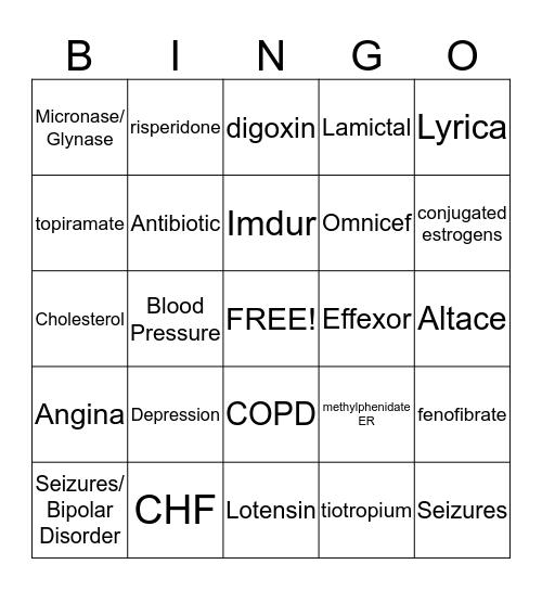 PT 136 Drug Quiz #2 (Midterm Drug Quiz) Bingo Card