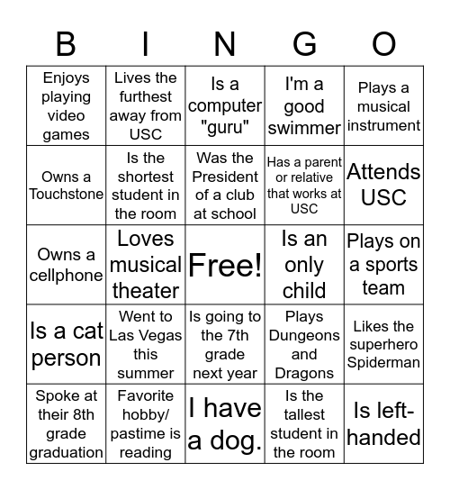 Discovery Project Bingo Card