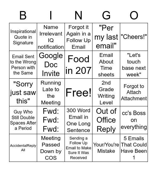 Office Email Bingo Card