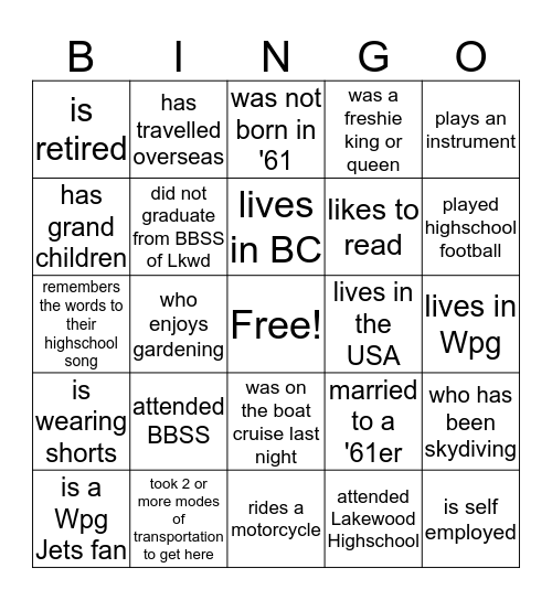 Find someone who: Bingo Card