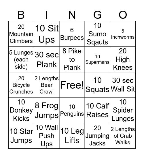 Exercise BINGO! Bingo Card