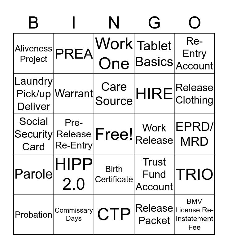 Pre-Release Re-Entry Bingo Card