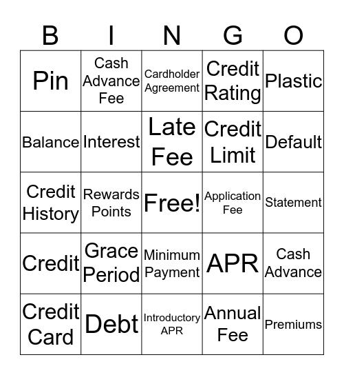 Credit Card Lingo Bingo Card