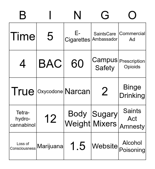 Office Of Wellness Bingo Card