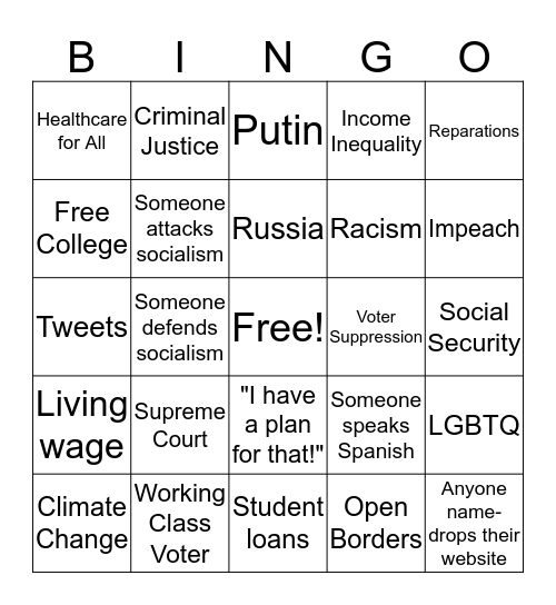DEMOCRATIC DEBATE   Bingo Card