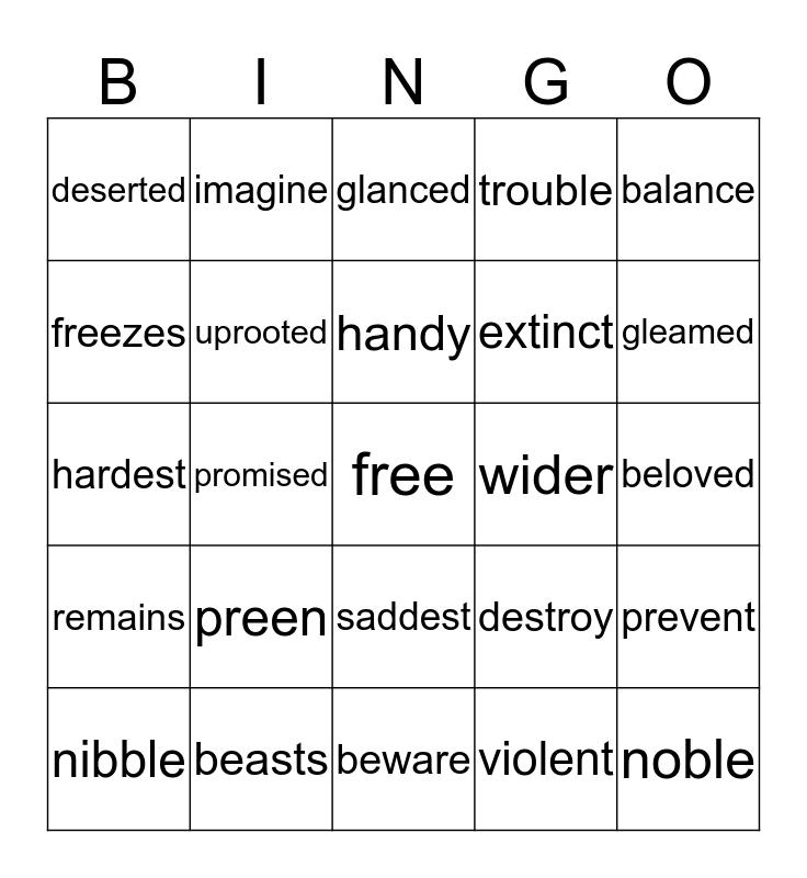 Time to Review Some Vocabulary! Bingo Card
