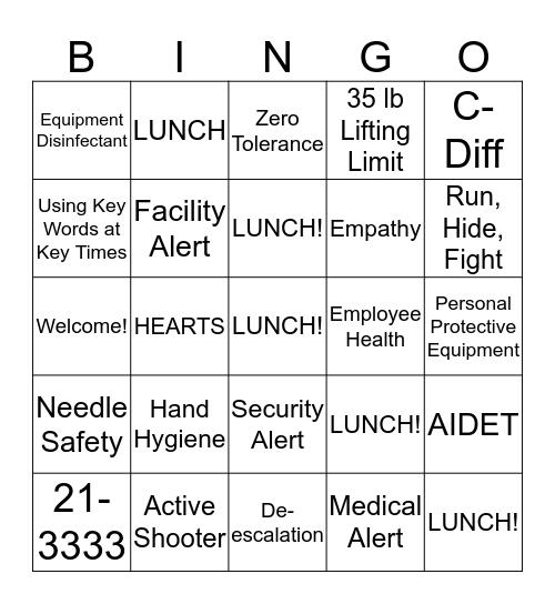 ALGH Day 2 Orientation Bingo Card