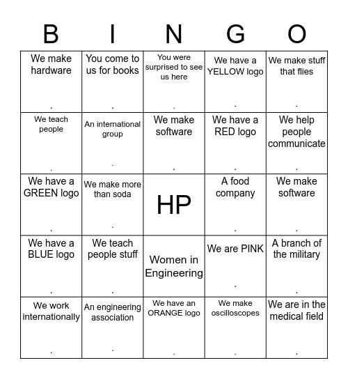 HP's Colorado Springs Engineering Summit Bingo Card