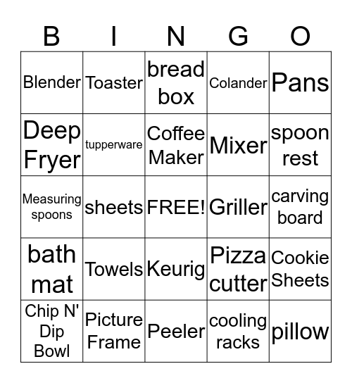Jennifer's Bridal Shower Bingo Card