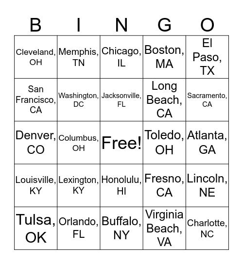 U.S. City Bingo Card