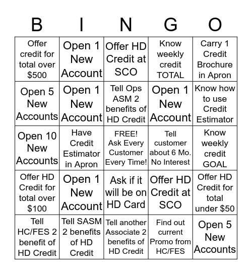 Home Depot Credit Bingo Card