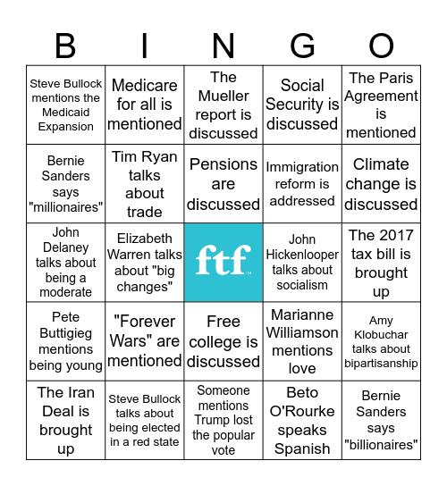 Democratic Primary Debate Night One Bingo Card